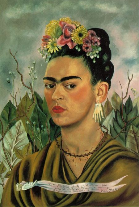 frida kahlo . self portrait with thorn necklace