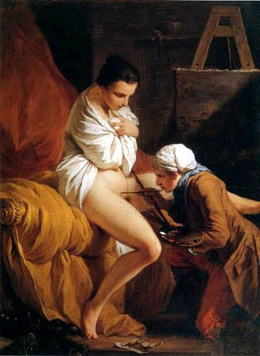 Pierre Subleyras, 1762. The artist painting a chastity seal on his wife