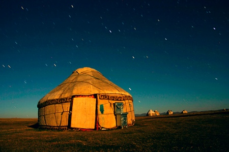 Yurt in Moonlight, Kyrgyzstan by drawlinson